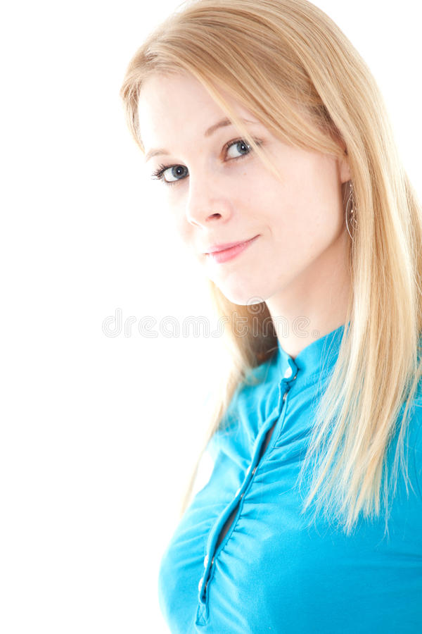 Glimlachend meisje in turkooise blouse stock foto