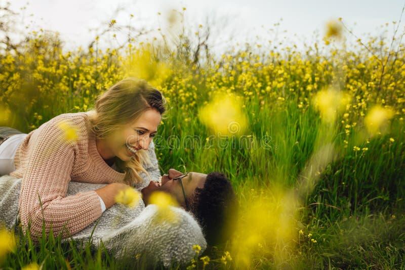 Glimlachend paar die op weide in openlucht liggen royalty-vrije stock foto