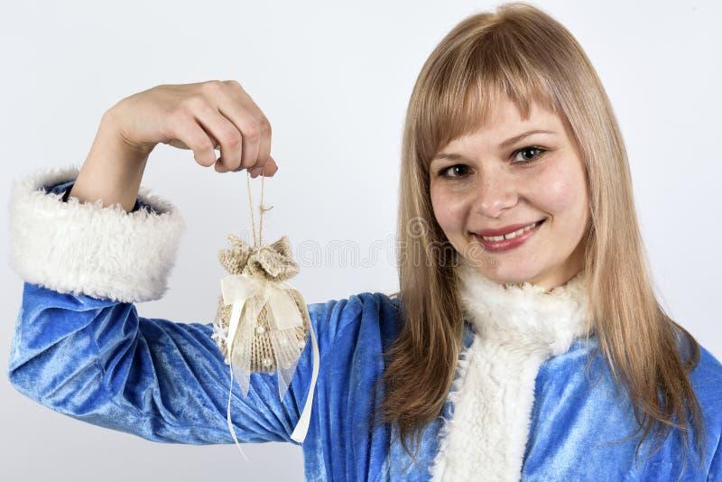 glimlachend sneeuwmeisje royalty-vrije stock afbeelding