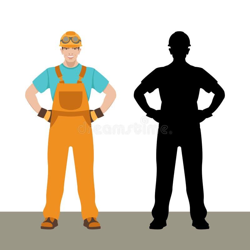 Glimlachend vlak de stijl zwart silhouet van de arbeiders vectorillustratie stock illustratie