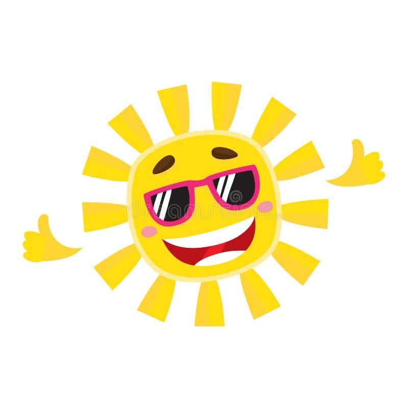 Glimlachend, vrolijke zon die zonnebril, geïsoleerde beeldverhaal vectorillustratie draagt royalty-vrije illustratie