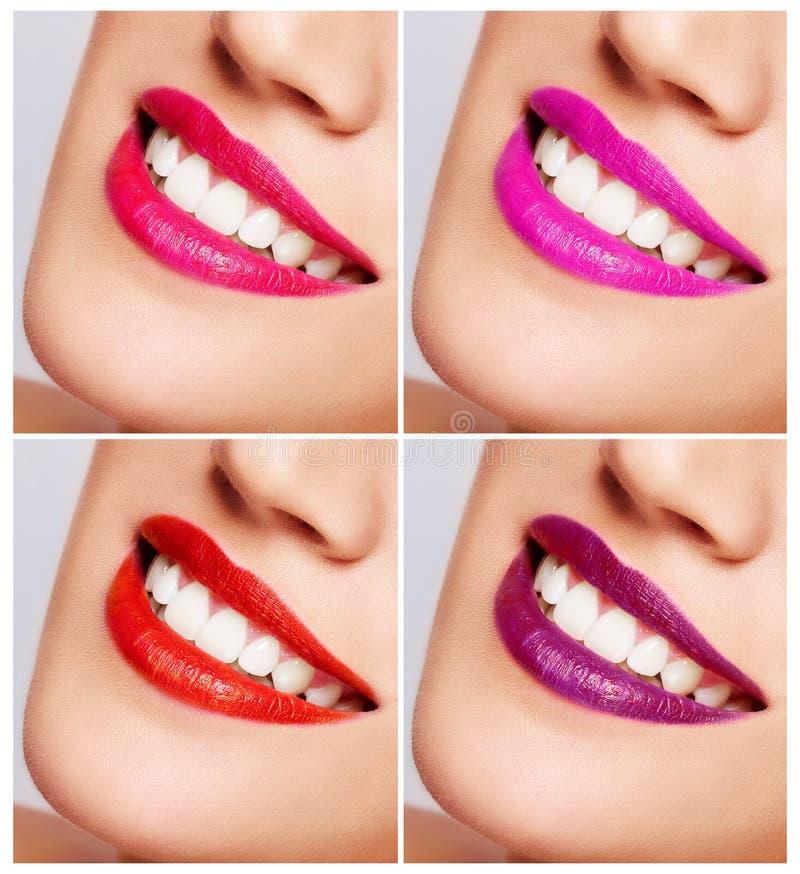 Glimlachend vrouwenmond met grote dicht omhoog tanden. royalty-vrije stock foto's