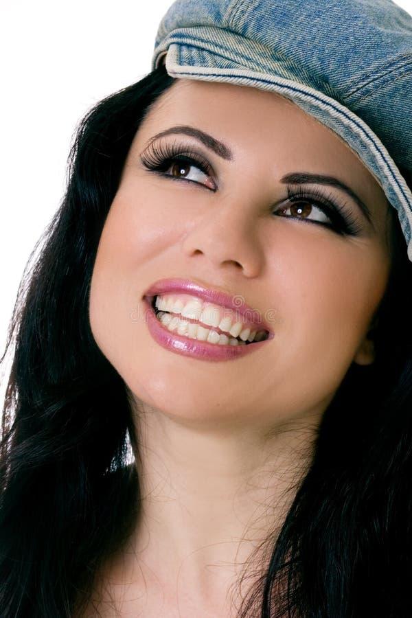 Glimlachend Wijfje met denimhoed royalty-vrije stock foto