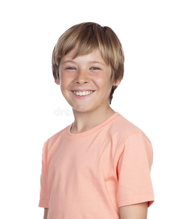 Glimlachende adolescent met een gelukkig gebaar stock fotografie