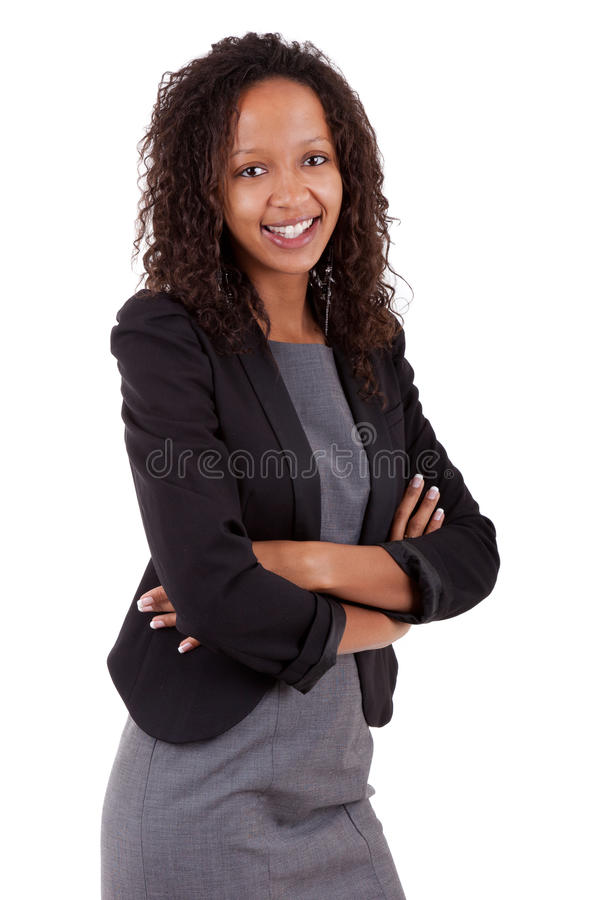 Glimlachende Afrikaanse Amerikaanse bedrijfsvrouw royalty-vrije stock afbeelding