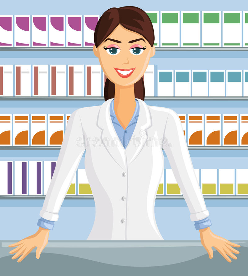 Glimlachende apotheker stock illustratie