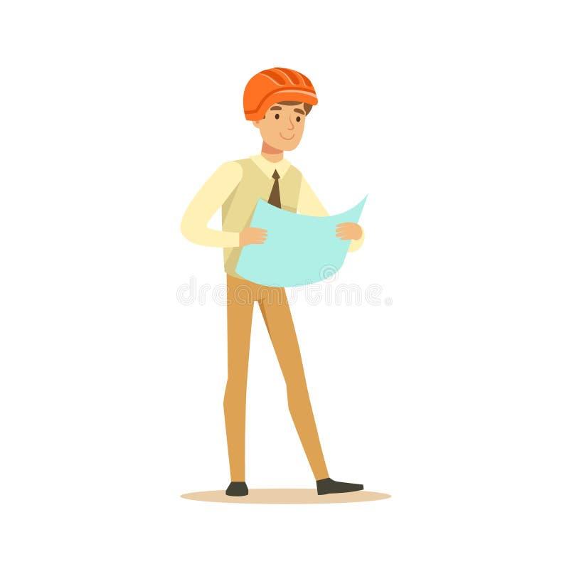 Glimlachende architect in oranje helm holding en het herzien blauwdruk, kleurrijke karakter vectorillustratie stock illustratie