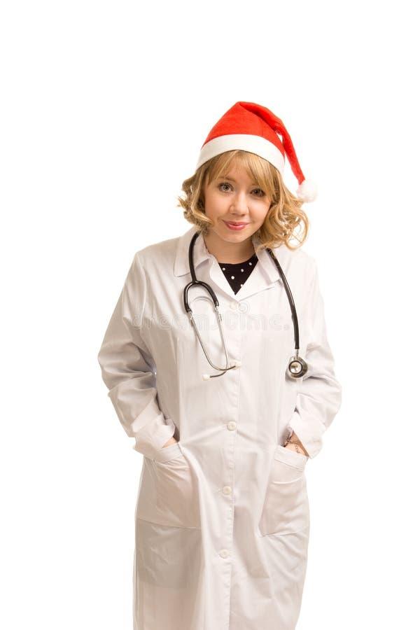 Glimlachende arts in een Hoed van de Kerstman royalty-vrije stock afbeelding
