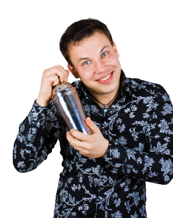 Glimlachende barman met schudbeker stock afbeeldingen