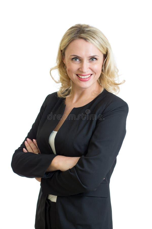 Glimlachende bedrijfsvrouw Geïsoleerd over witte achtergrond stock fotografie
