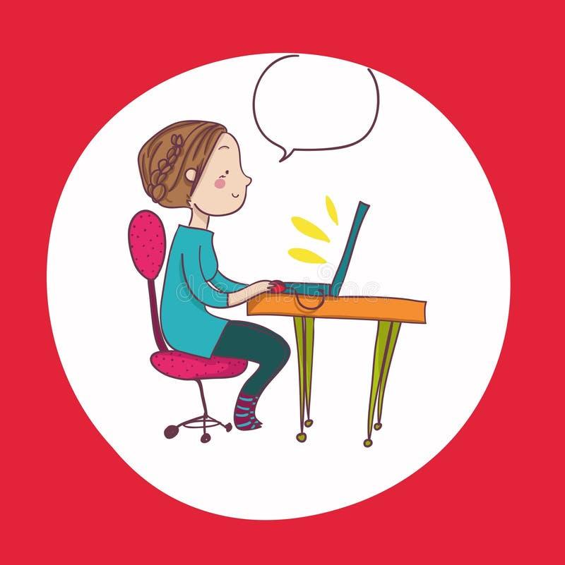 Glimlachende beeldverhaalvrouw bij laptop royalty-vrije illustratie