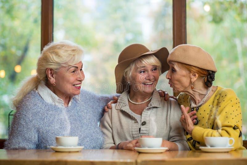Glimlachende bejaarde dames in koffie royalty-vrije stock fotografie