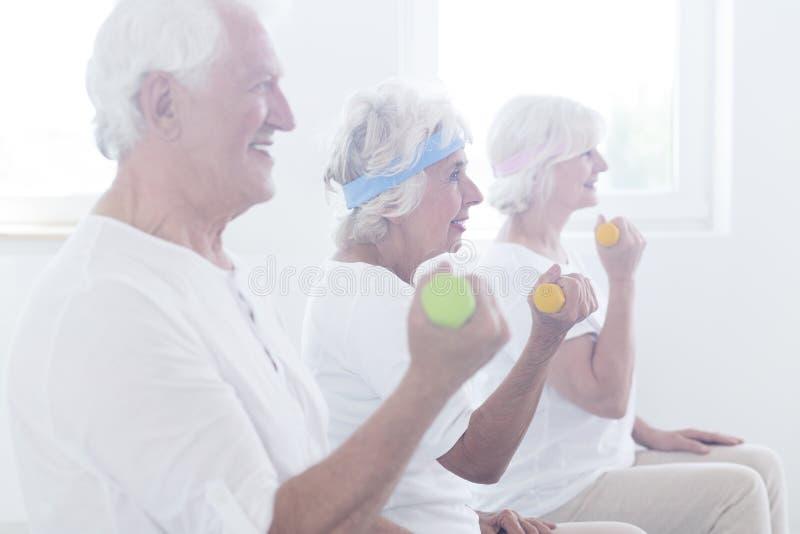 Glimlachende bejaarde mensen die domoren opheffen stock afbeeldingen