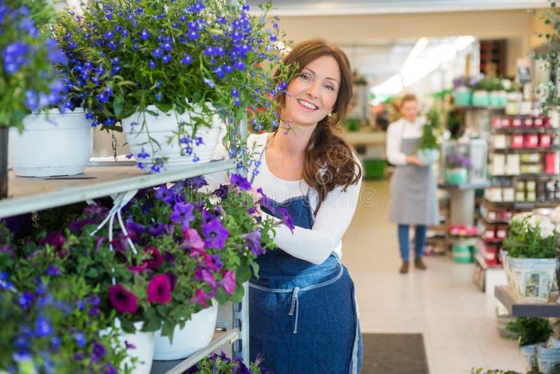 Glimlachende Bloemist Pushing Flower Shelves in Winkel royalty-vrije stock fotografie