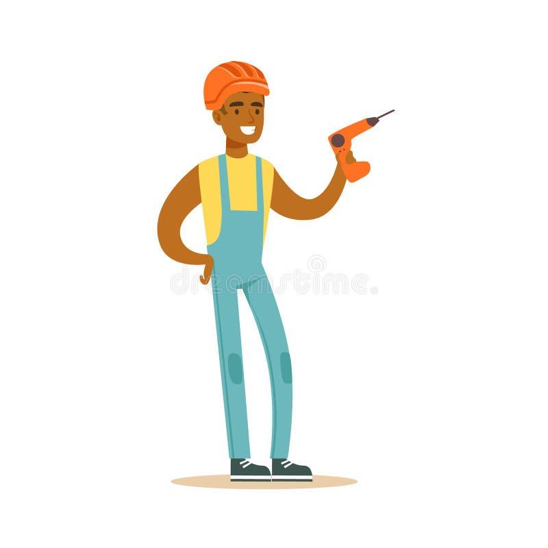Glimlachende bouwer die oranje helm en het werkkleren dragen die en boor in zijn handen bevinden zich houden, kleurrijk karakter vector illustratie