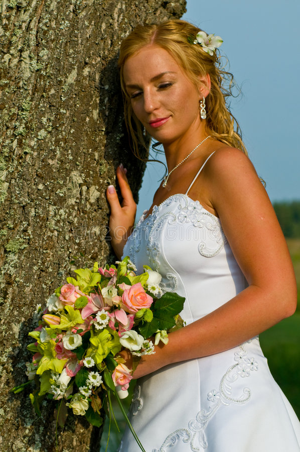 Glimlachende bruid die op boom leunt royalty-vrije stock afbeelding