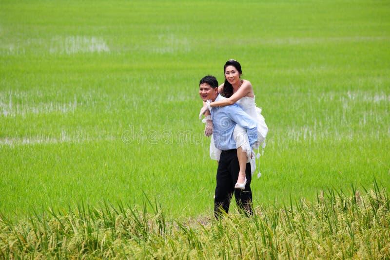 Glimlachende bruidegom die zijn achterbruid vervoert infield royalty-vrije stock afbeeldingen