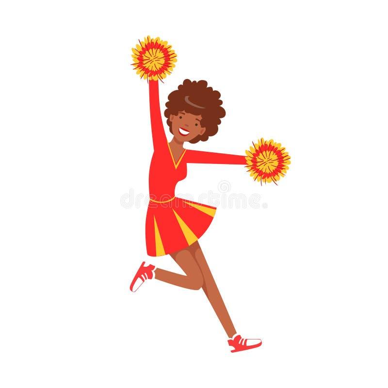 Glimlachende cheerleader meisjestiener die met rode en gele pompoms dansen De kleurrijke vectorillustratie van het beeldverhaalka royalty-vrije illustratie