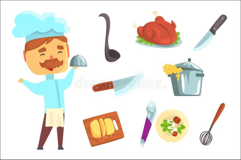 Glimlachende Chef-kok Keukentoestellen en verschillende schotels die voor etiketontwerp worden geplaatst Kleurrijke beeldverhaal  royalty-vrije illustratie