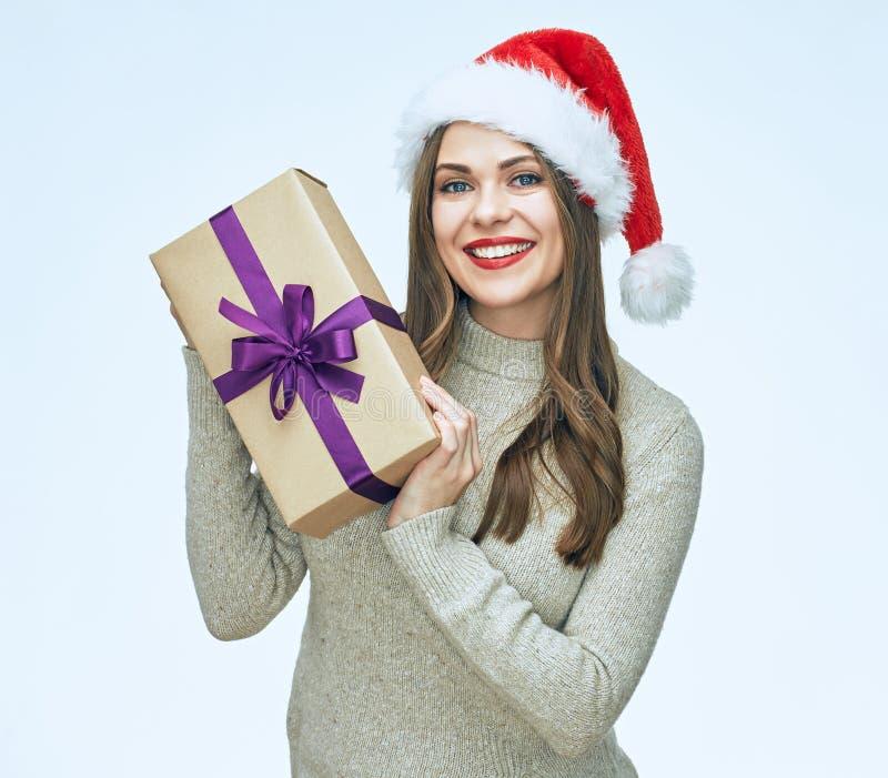 Glimlachende de giftdoos van de vrouwenholding U kunt het veranderen omdat u een gelaagd eps dossier hebt stock foto's