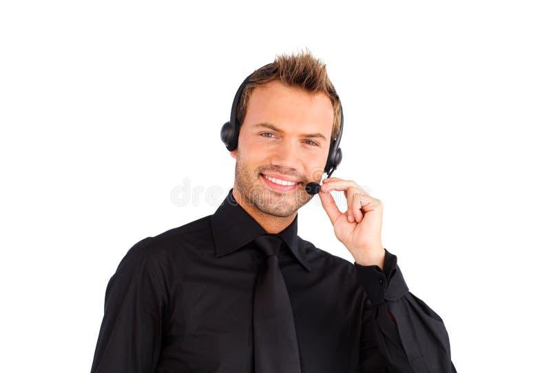 Glimlachende de vertegenwoordigersmens van de klantendienst royalty-vrije stock afbeelding