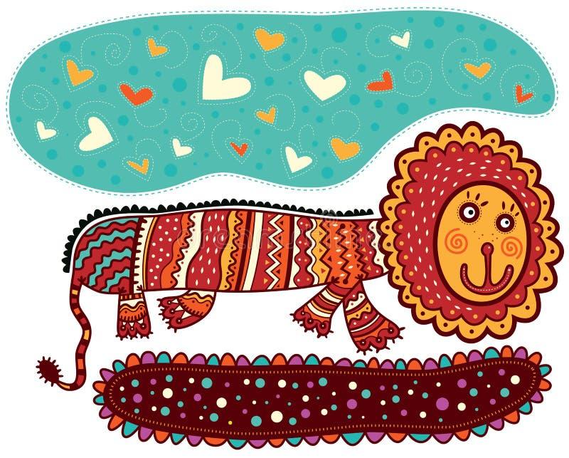 Glimlachende decoratieve leeuw royalty-vrije illustratie