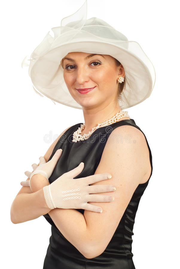 Glimlachende elegante vrouw royalty-vrije stock foto
