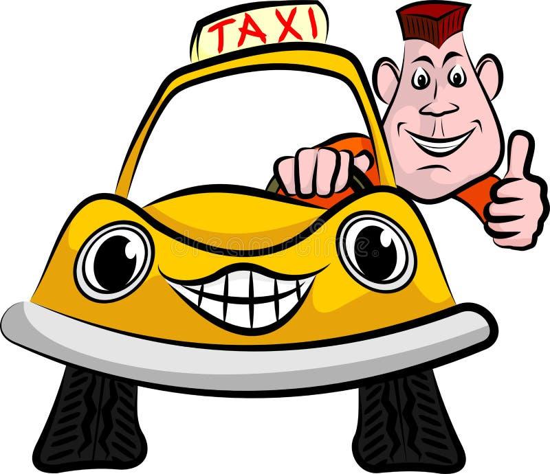 Glimlachende en gelukkige taxibestuurder stock illustratie
