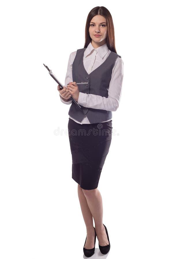 Glimlachende geïsoleerde vrouwenmanager of leraar met klembord royalty-vrije stock afbeelding