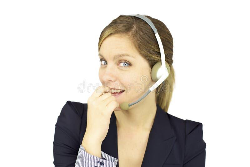 Glimlachende gelukkige vrouw met hoofdtelefoon royalty-vrije stock afbeeldingen