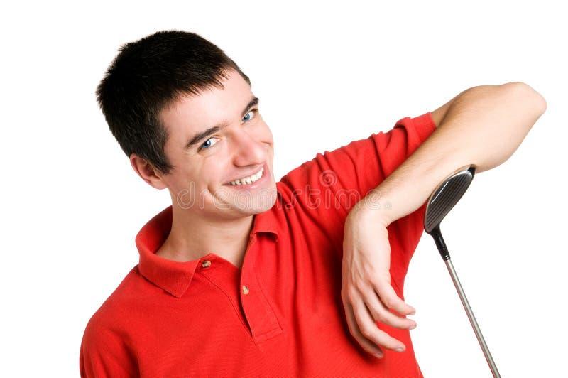 Glimlachende golfspeler stock afbeelding