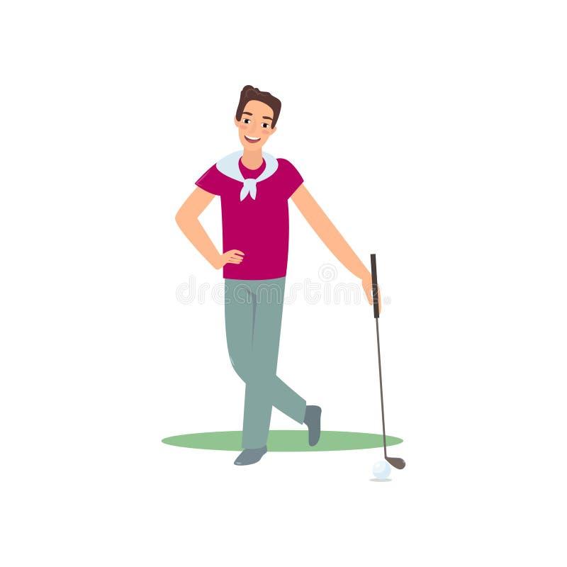 Glimlachende golfspeler die zich met club tevreden goed spel bevinden vector illustratie