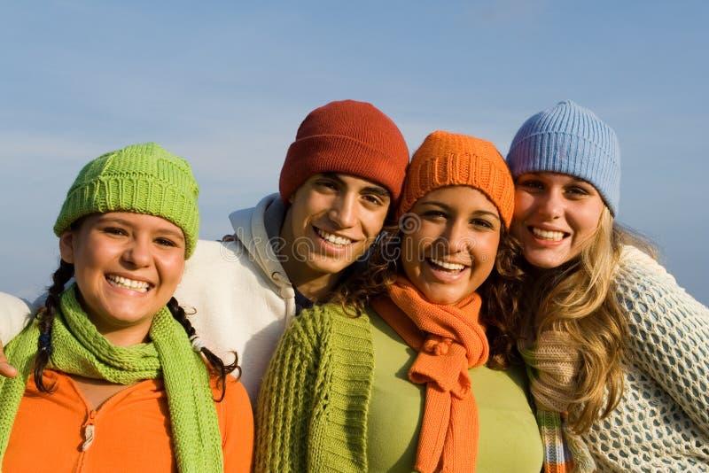 Glimlachende groep stock fotografie