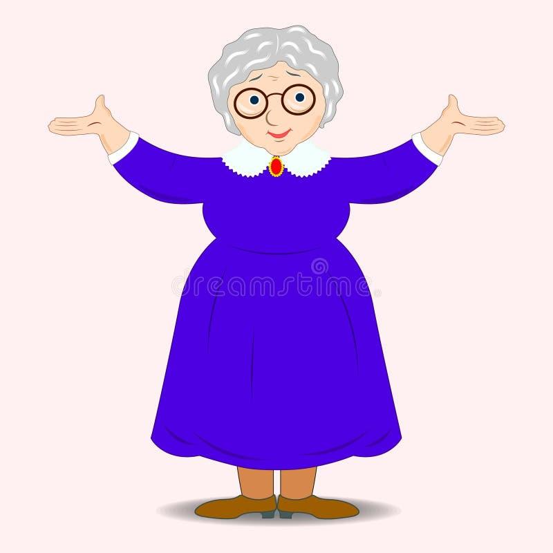 Glimlachende grootmoederkeuken Grappige oma in glazen Vriendschappelijk die grootmoederpersonage op witte achtergrond wordt geïso royalty-vrije illustratie
