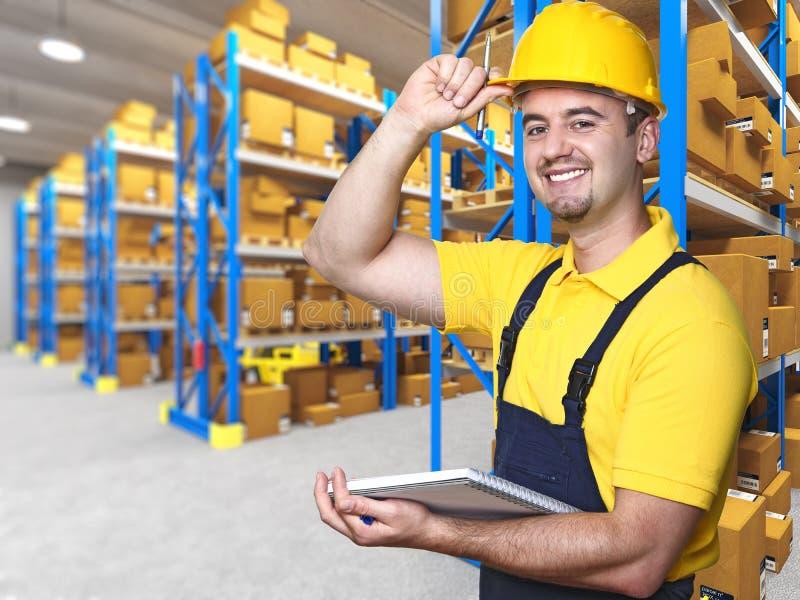 Glimlachende handarbeider stock foto's