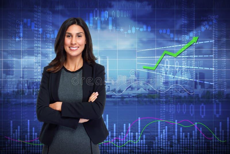 Glimlachende investeerdersvrouw stock afbeelding
