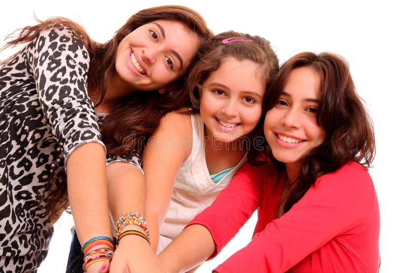Glimlachende jonge meisjes royalty-vrije stock afbeelding