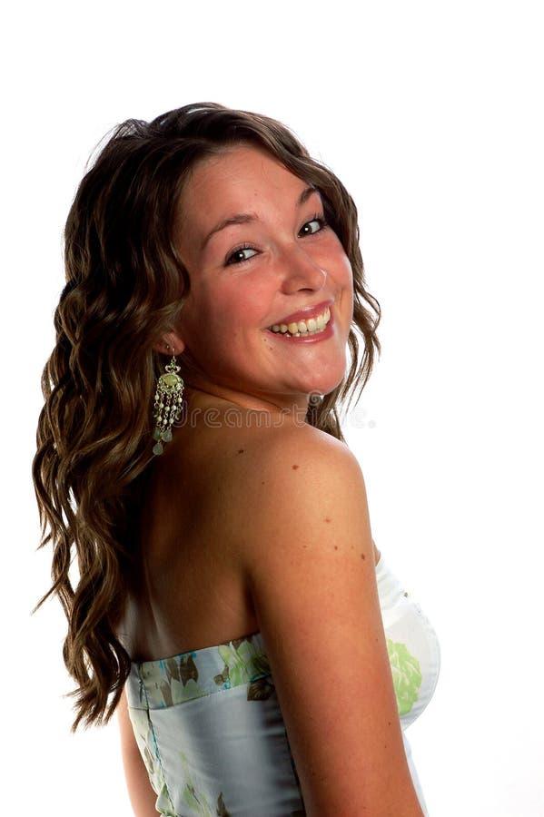 Glimlachende jonge vrouw royalty-vrije stock foto