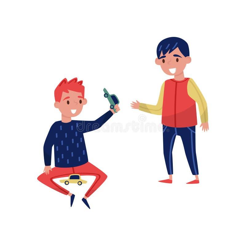 Glimlachende jongen die stuk speelgoed auto met een ander kind delen Jong geitje met beleefdheid Vlakke vectorillustratie vector illustratie