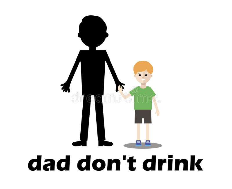 Glimlachende jongen naast zijn vader alcoholisch Vector vlak ontwerp royalty-vrije illustratie