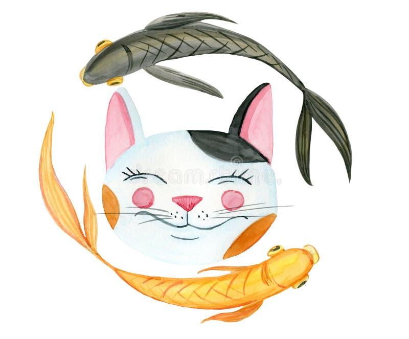 Glimlachende kat en 2 vissen vector illustratie