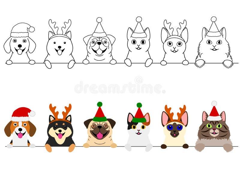Glimlachende katten en honden met de grensreeks van Kerstmiskostuums royalty-vrije illustratie