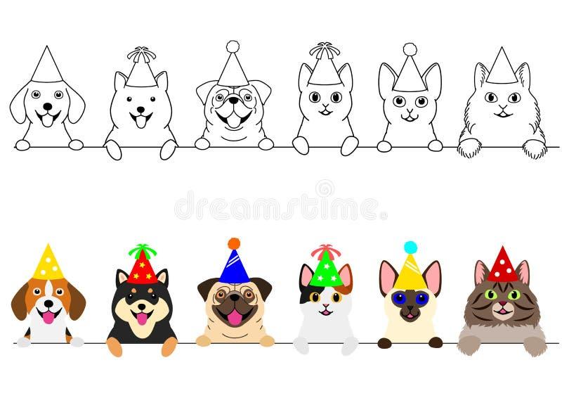Glimlachende katten en honden met de grensreeks van de partijhoed royalty-vrije illustratie