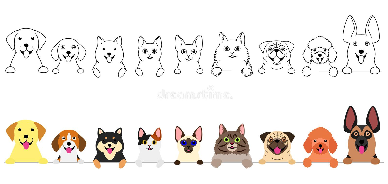 Glimlachende katten en hondengrensreeks stock illustratie