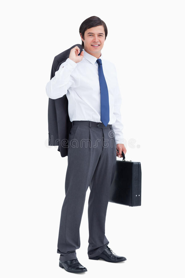 Glimlachende kleinhandelaar met jasje en koffer royalty-vrije stock afbeelding