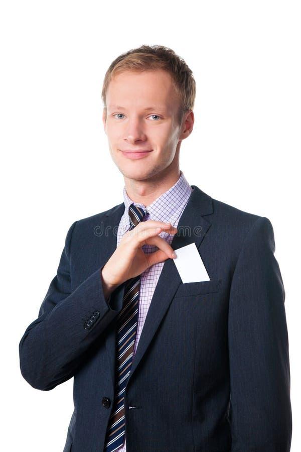 Glimlachende knappe zakenman met een lege kaart royalty-vrije stock foto's