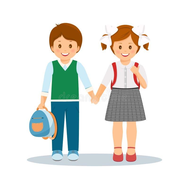 Glimlachende leerlingen die handen houden stock illustratie