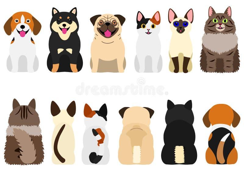 Glimlachende leuke geplaatste honden en katten vector illustratie