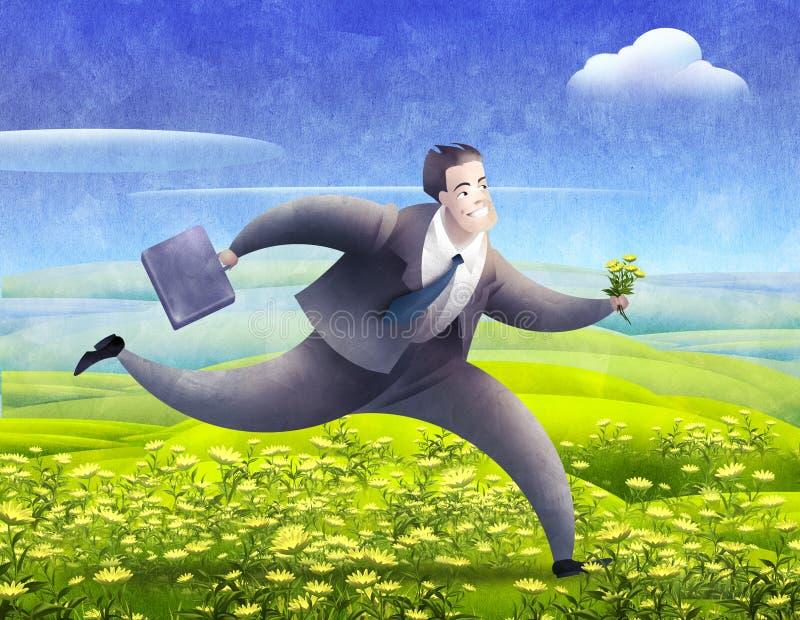 Glimlachende lopende zakenman vector illustratie