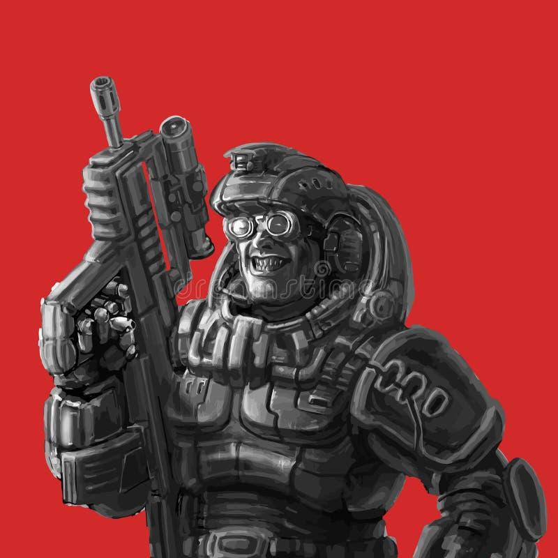 Glimlachende marechaussee in fantastisch kostuum met een machinegeweer Vector illustratie vector illustratie